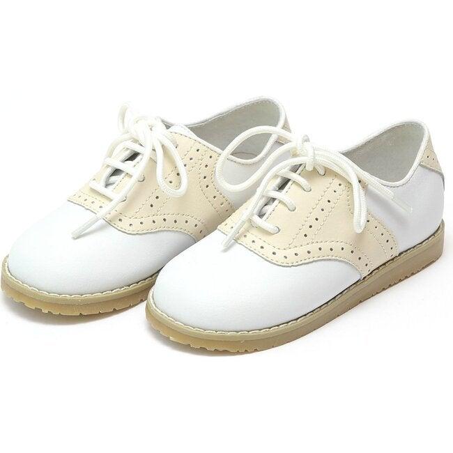 Luke Two Tone Leather Saddle Shoe, White/Beige