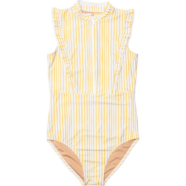Women's Bella Sleeveless Ruffle One Piece Swimsuit, Lemon Stripe - One Pieces - 1