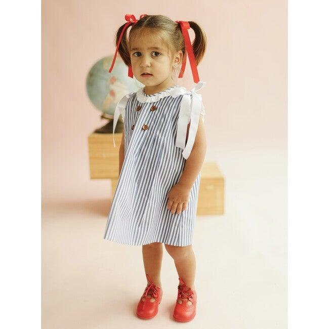 Two Piece Dress Set, Blue Stripes