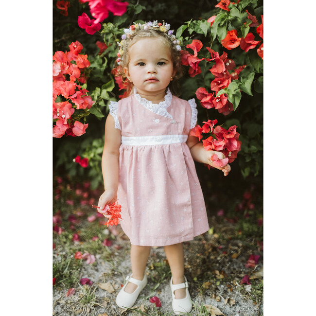Crossed Dress, Guava and White Trim
