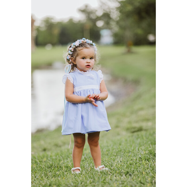 Crossed Dress, Blue and White Trim