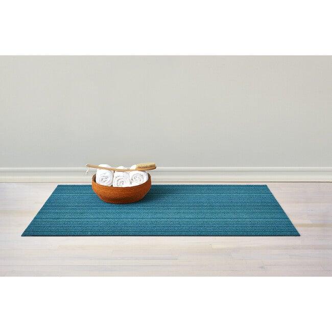 Skinny Stripe Shag Floor Mat, Turquoise