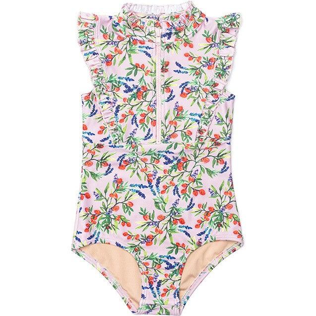 Mini Bella Girl's Ruffle One Piece Swimsuit, Poppy Spritz Print