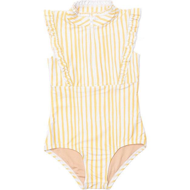 Mini Bella Girl's Ruffle One Piece Swimsuit, Lemon Stripe Print