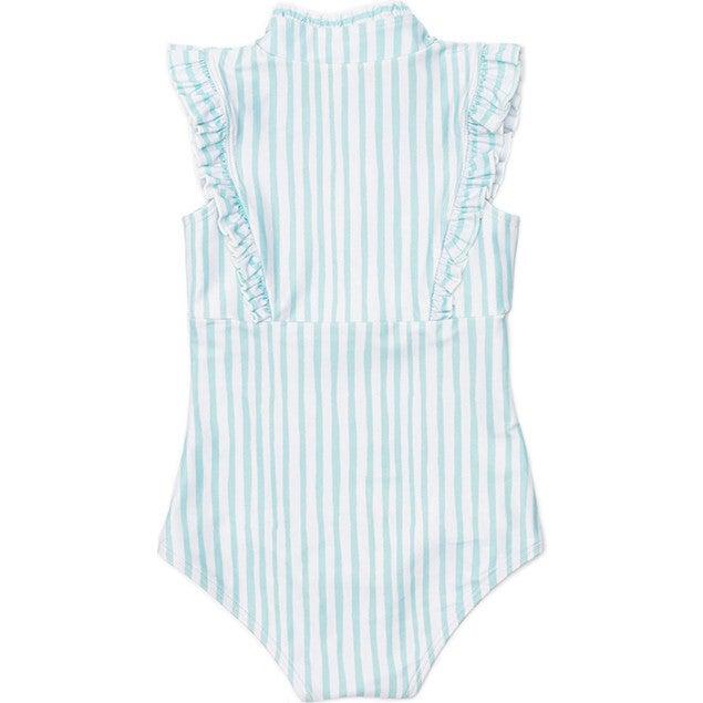 Mini Bella Girl's Ruffle One Piece Swimsuit, Sea Glass Stripe