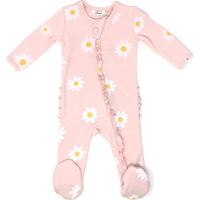Zipper Ruffle Footie, Baby Rib - White Daisies - Pale Pink