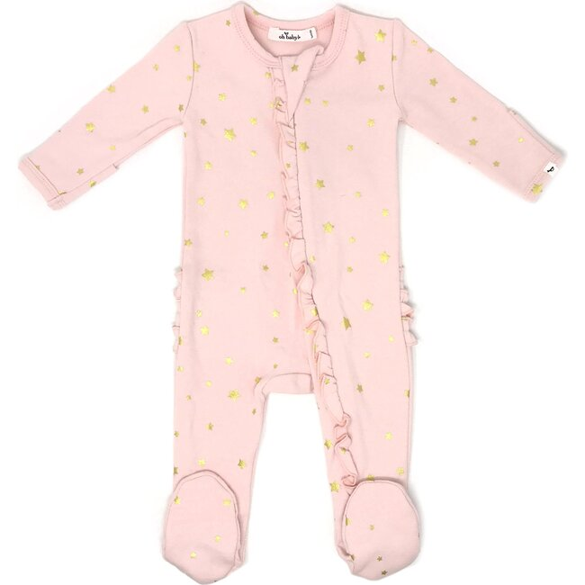 Zipper Ruffle Footie Baby Rib - Mini Stars Gold - Pale Pink
