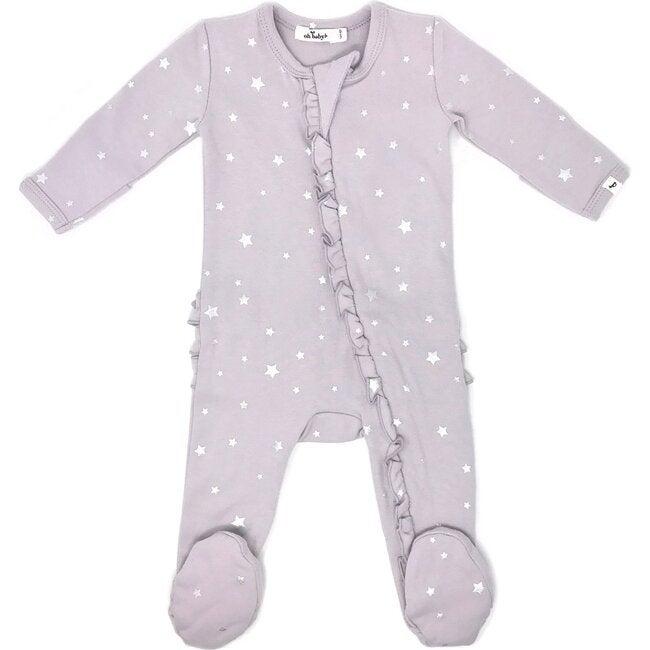 Zipper Ruffle Footie Baby Rib - Silver Stars - Misty Lavender