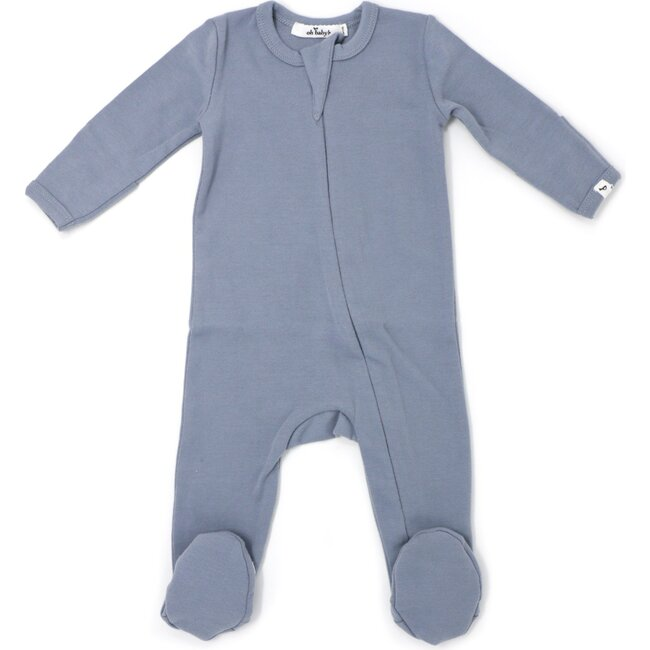 Zipper Footie Baby Rib - Fog