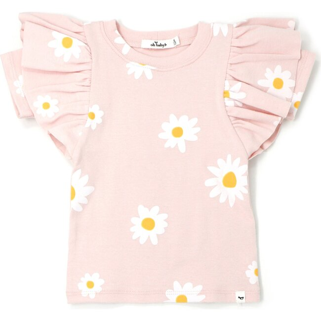 Butterfly Sleeve Short Sleeve Tee - White Daisies - Pale Pink