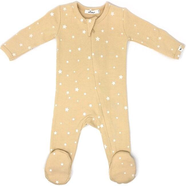 Zipper Footie Baby Rib - Mini Stars White - Honey