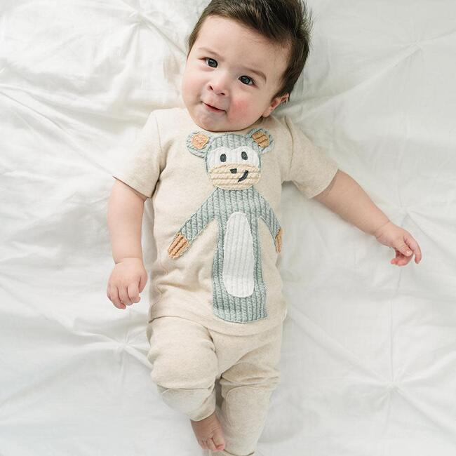 Monkey Sea Short Sleeve Baby Rib Tee - Sand