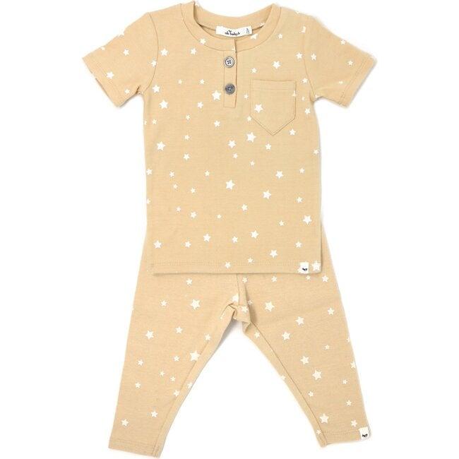 Pocket Henley Short Sleeve Two Piece Set - White Stars - Honey