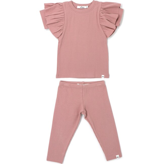 Two Piece Set Butterfly Short Sleeve Wide Rib - Blush