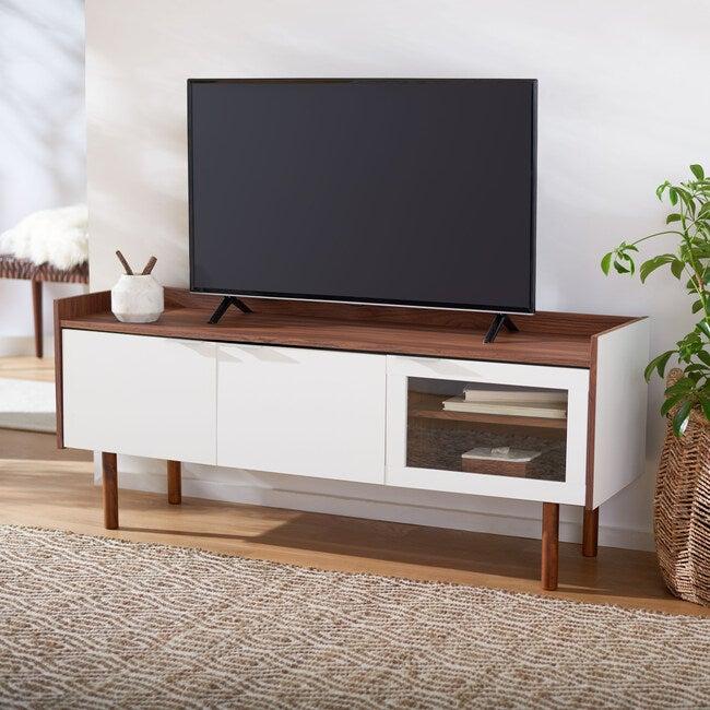 Safiya Media Stand, White/Wood