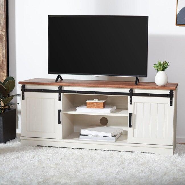 Braelynn Media Stand, Cream/Wood