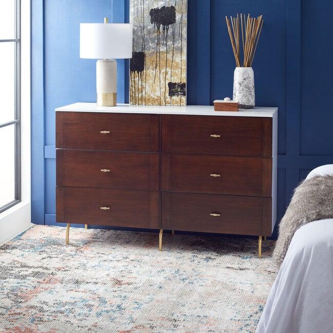 Genevieve 6-Drawer Dresser, Dark Wood/White