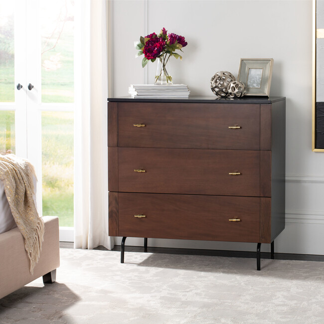 Genevieve 3-Drawer Dresser, Deep Wood