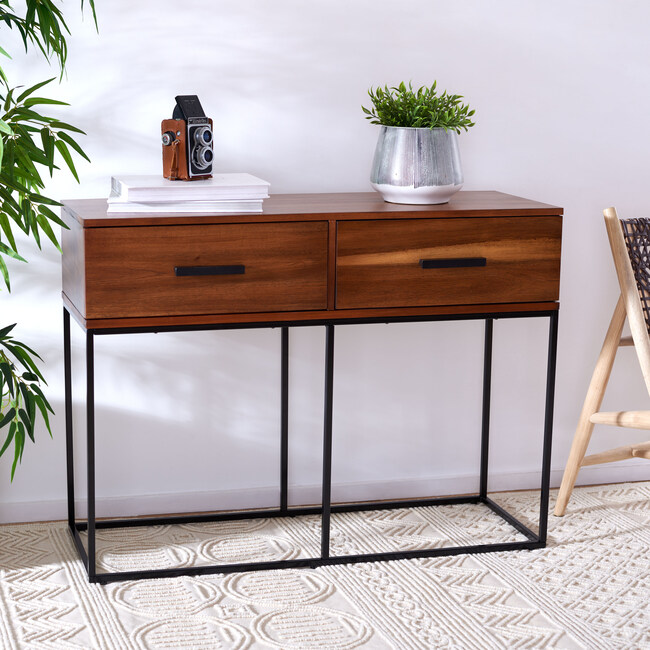 Marquise 2-Drawer Console Table, Dark Wood