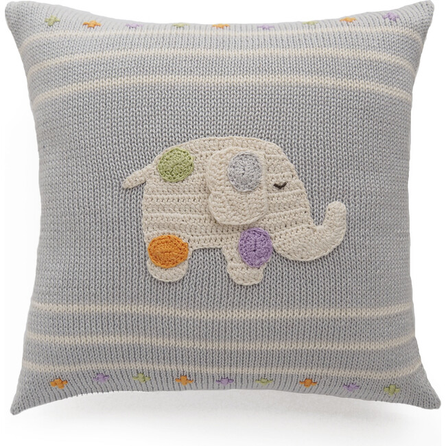 Elephant with Spots Pillow, Grey Multi