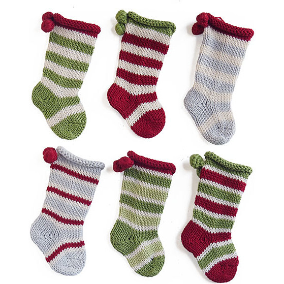 Tiny Stocking Ornaments, Set of 6