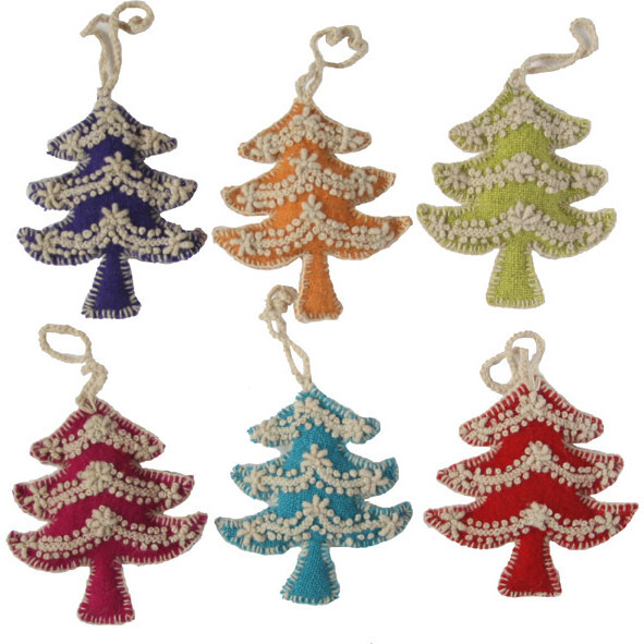 Embroidered Tree Ornaments, Set of 6