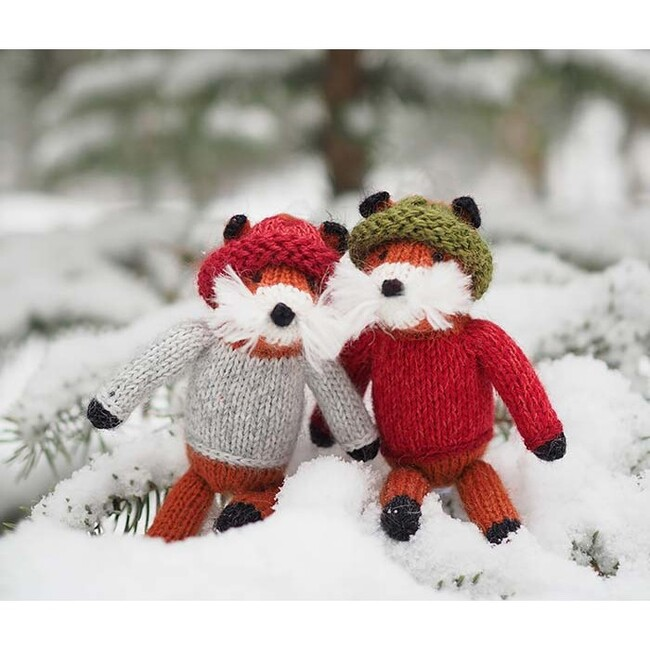 Fox In Sweater Ornaments, Set of 3