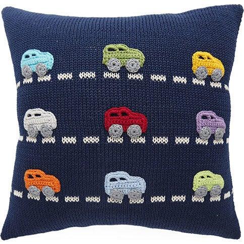 Mini Cars Pillow, Multi/Navy