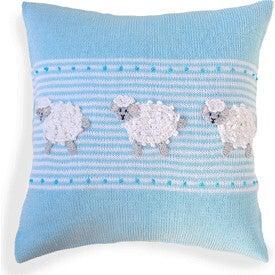 Sheep Baby Pillow, Blue/White