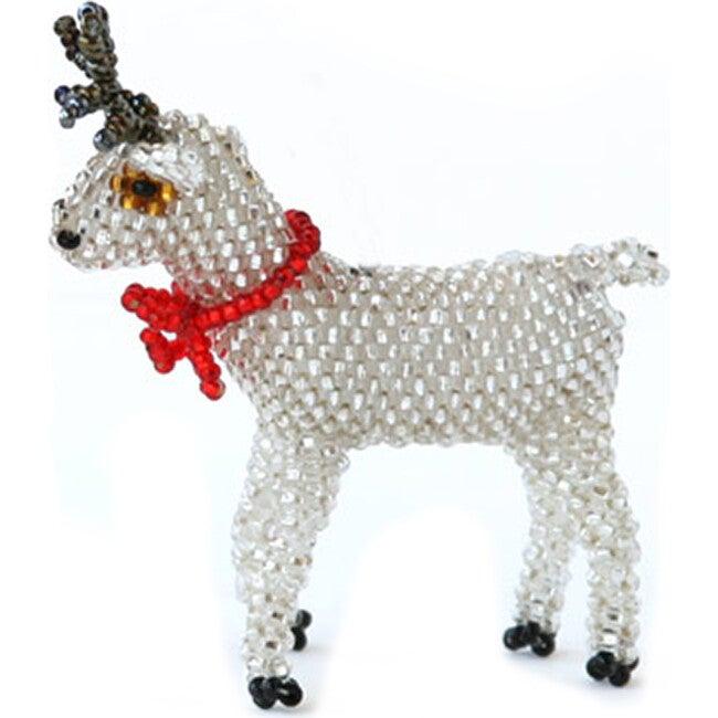 Beaded Reindeer Ornament, Silver