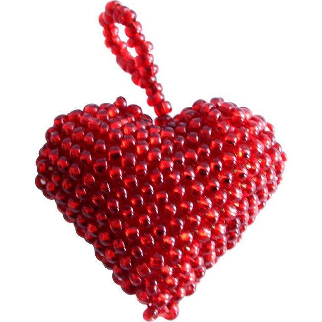 Beaded Heart Ornament, Red