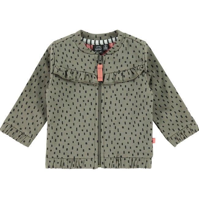 Zip Up Printed Sweater, Moss Green
