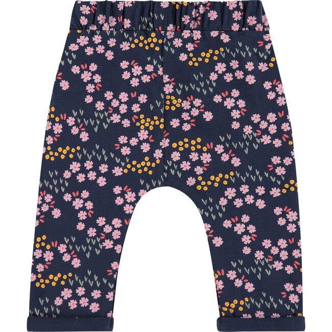 Printed Floral Relaxed Fit Pants, Marine