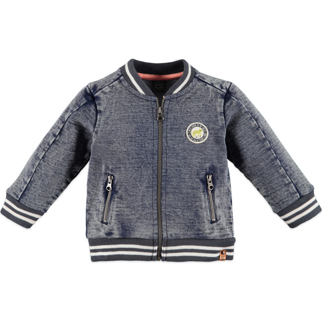 Denim Zip-Up Jacket, Blue Grey - Jackets - 1