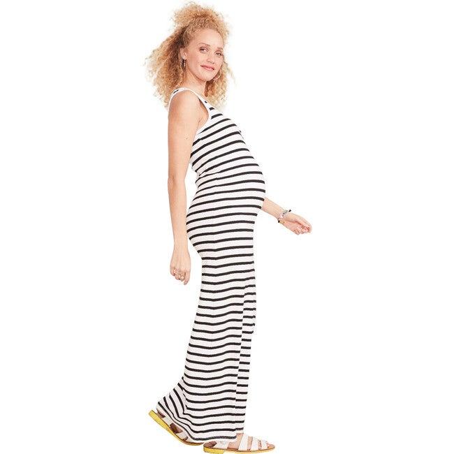 The Women's Long Body Tank Dress, Black / White Stripe