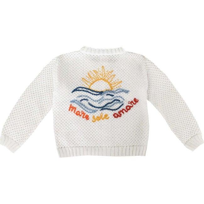 """Embroidered Sweater """"Mare, Sole, Amare"""", White"""