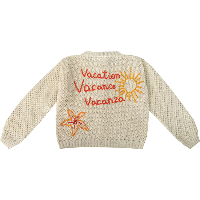 """Embroidered Sweater """"Vacation, Vacance, Vacanza"""", Beige"""