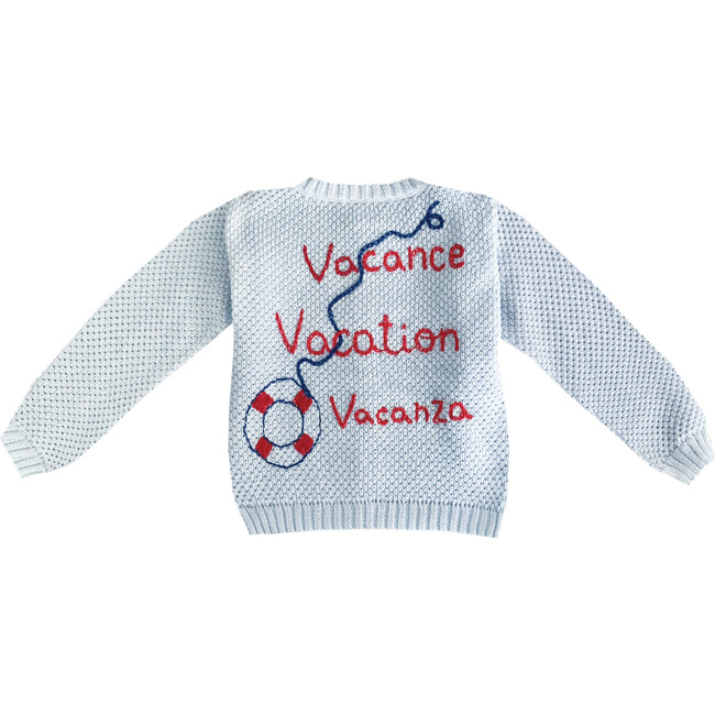 """Embroidered Sweater """"Vacance, Vacation, Vacanza"""", Light Blue"""