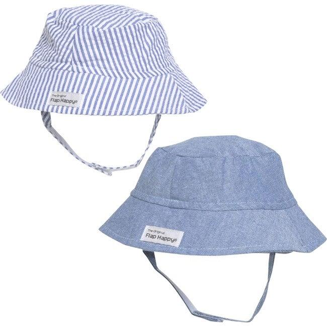 Bucket Hat 2 Pack, Chambray & Chambray Stripe Seersucker