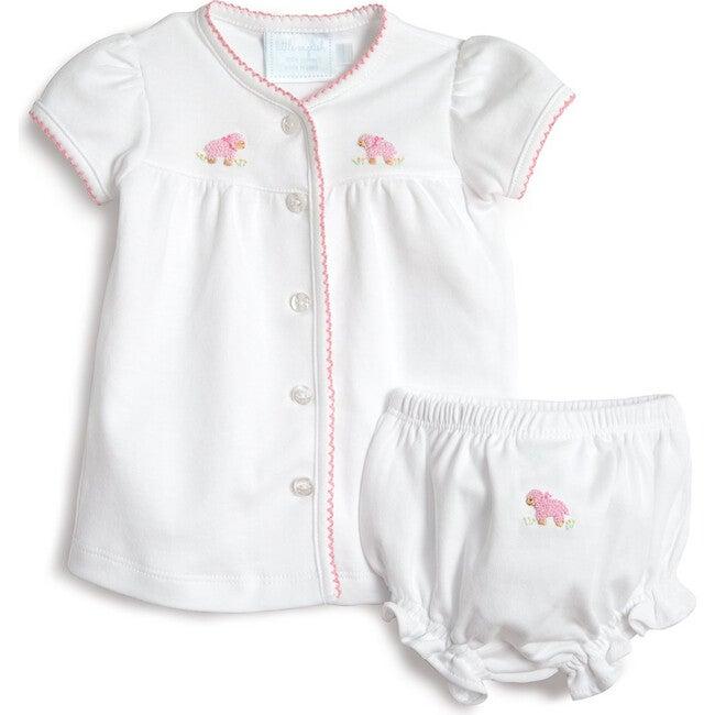 Pinpoint Layette Knit Set, Pink Sheep