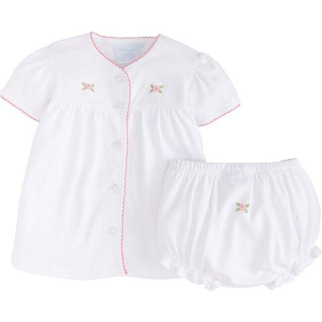 Pinpoint Layette Knit Set, Pink Rose