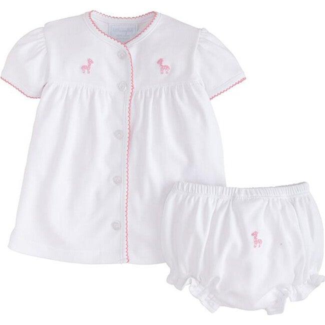Pinpoint Layette Knit Set, Pink Giraffe