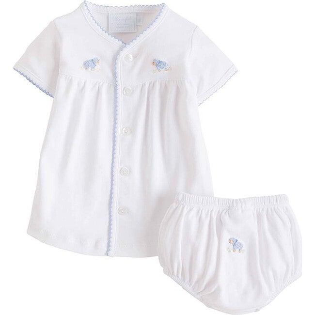 Pinpoint Layette Knit Set, Blue Sheep
