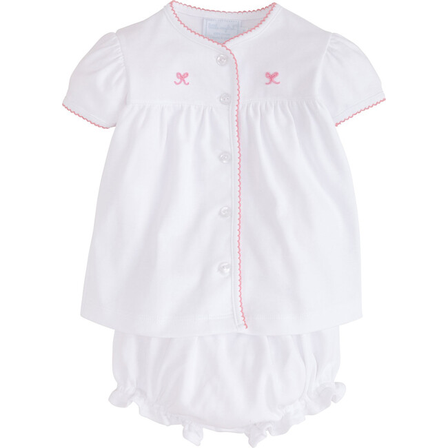 Pinpoint Layette Knit Set, Pink Bow