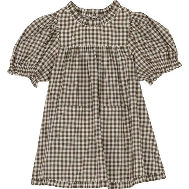 Little Amarillo Dress, Olive Gingham
