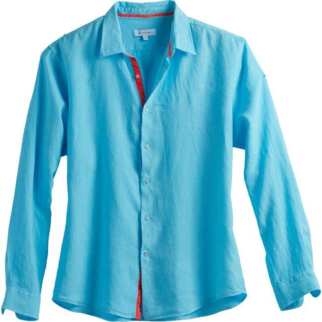 Men's Peter Linen Shirt, Aqua