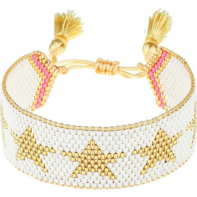 White with Gold Stars Bracelet