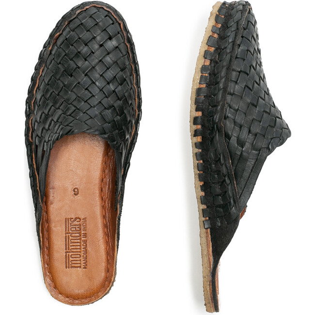 Woven Slide, Iron-Dyed Leather