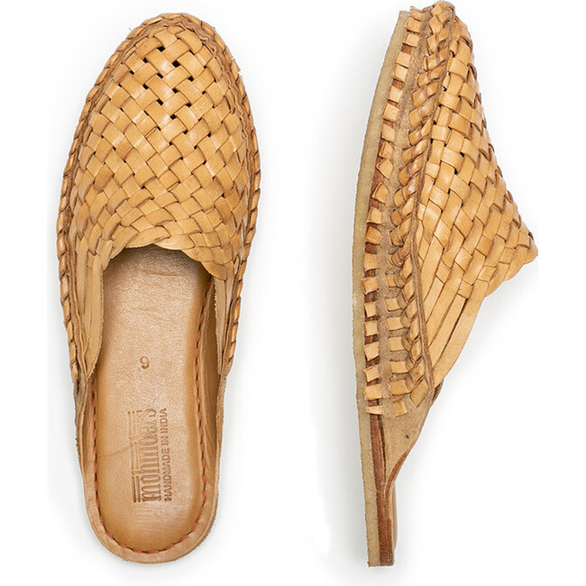Woven Slide, Natural Leather
