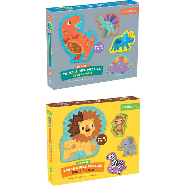 My First Touch & Feel Puzzle Set: Dinosaurs & Jungle Animals